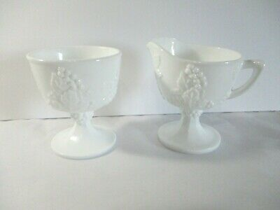 $7.50 • Buy Milk Glass Footed Cream And Open Sugar, Grape And Grape Leaf Pattern