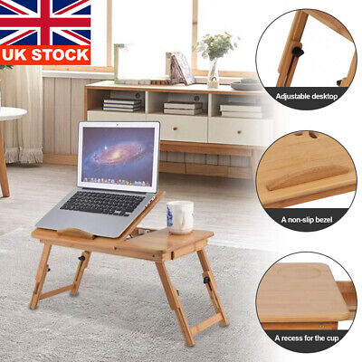 Bamboo Adjustable Portable Laptop Lazy Table Stand Lap Sofa Bed PC Notebook Desk • 16.29£