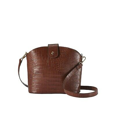 Oriflame 2-in-1 Croc Pattern Crossbody Bag Removable Insert In Cognac • 19.95£