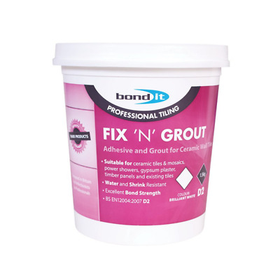 £6.99 • Buy Bond It Fix 'n' Grout Waterproof D2 Mixed Tile Adhesive And Grout White 1.5Kg
