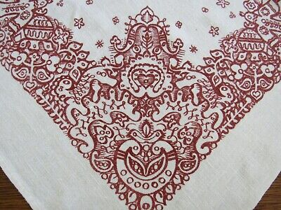 $ CDN31.54 • Buy FOLK ART Linen Tablecloth Vintage Christmas Red & Pale Ivory 36  Center Cloth