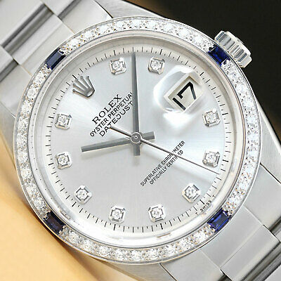 $ CDN6390.07 • Buy Mens Rolex Datejust Silver 18k White Gold Sapphire Diamond Stainless Steel Watch