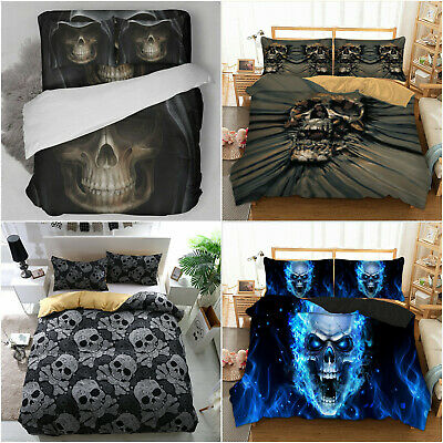 3D Cool Skull Skeleton Duvet Cover Pillowcases Gothic Bedding Single Double King • 25.99£