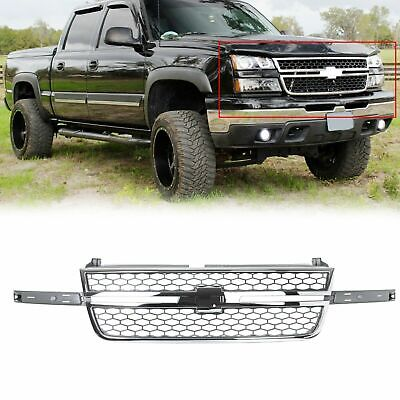 $139 • Buy Honeycomb Grille For 05-07 Chevy Silverado 1500 2500 3500 Pickup Chrome & Gray