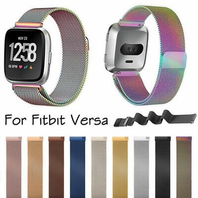 $ CDN13.51 • Buy Metal Magnetic Buckle Milanese Stainless Steel Large Watch Band For Fitbit Versa