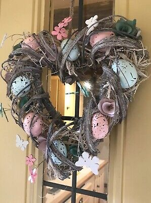 Easter Egg Heart Wreath Hanging Decoration Rustic With Flowers Eggs New Pastel • 19.99£