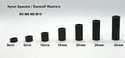 £2.65 • Buy Nylon Spacers/ Standoff Washers M5 M6 M8 M10 Height 3- 30mm Unthreaded Pack Of 4