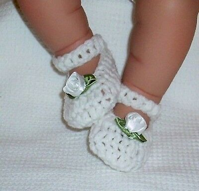 White Shoes Premature Baby 3-5 Lbs 17-18  Reborn Doll 2½-3  Foot 1235 Dolly Togs • 3.99£