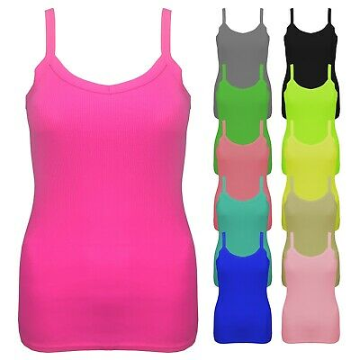 £2.99 • Buy Ladies Womens Summer Fitted Cotton Ribbed Strappy Stretchy Vest Top Uk 8 - 18
