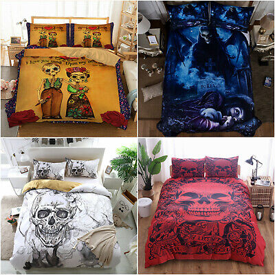 Skull Cool Duvet Cover Set Gothic Death Bedding Pillowcases Single Double King • 24.69£