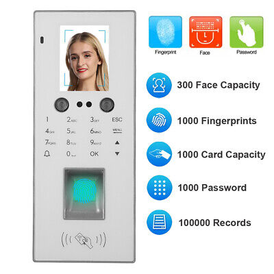 2.8in Office Time Clock Attendence Machine Face Fingerprint Security Password • 61.23£