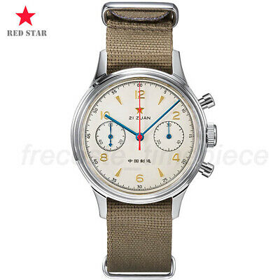 £158.99 • Buy 1963 Red Star Pilot Seagull ST19 Chronograph Hand Winding Watch 38mm Swan Neck
