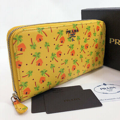 PRADA Purse 1ML506 Palm Tree Zip Around Safiano Leather Women • 322.25£