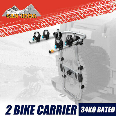 AU129.95 • Buy 2 Bike Carrier Rack For Spare Wheel Mount Foldable Rear Car SUV 4x4 4WD