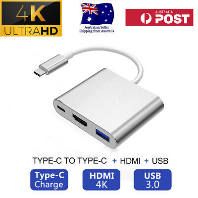 AU21.99 • Buy USB 3.1 TYPE-C Thunderbolt 3 To HDMI VGA USB3.0 Charging Hub Adapter Cable Cord