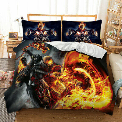 Fire Rider Ghost Motorbike Biker Duvet Cover Cool Bedding Set Single Double King • 23.99£