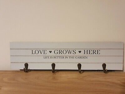Allotment Garden Shed Sign Hooks Plaques Love Life White Shabby Chic Storage • 6.99£