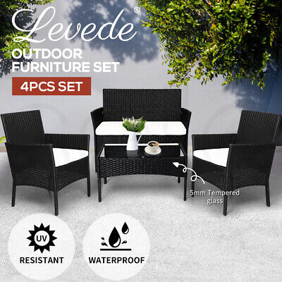 AU359.99 • Buy Levede 4 PCS Outdoor Furniture Setting Patio Garden Table Chairs Set Wicker Seat