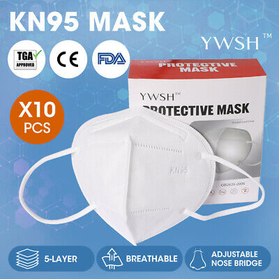 AU54.99 • Buy N95 KN95 Mask Face Masks Reusable Disposable Anti Dust Respirator Filter X10