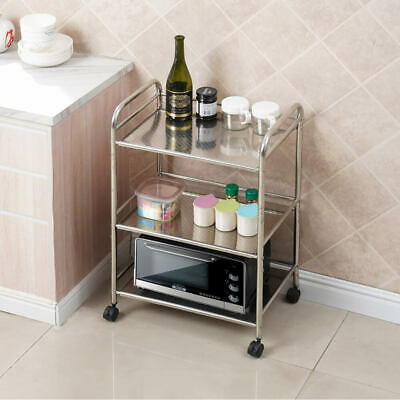 £25.99 • Buy 3 Shelves Kitchen Trolley Stainless Steel With Wheels Salon Serving Trolley