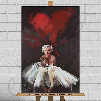 Marilyn Monroe Red LoveHeart Lips Painting Framed Canvas Print Picture A1 30x20  • 23.95£