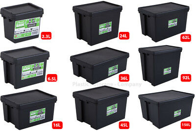 Wham Bam Heavy Duty Plastic Storage Boxes - Black Recycled Plastic - Super Stong • 133.99£