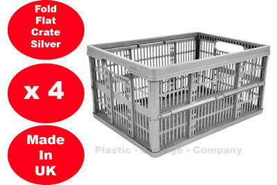 £15.99 • Buy 4 X 32 Litre Foldable Crate Plastic Storage Box Basket Crates Flat Good For Cars