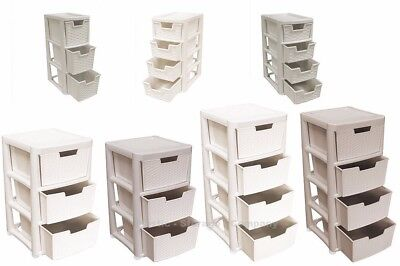 Rattan Style Plastic Storage Towers - Mini / Large - Strong - Home - Bathroom  • 26.99£