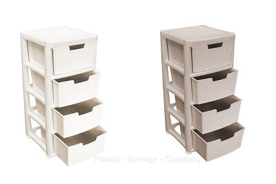 4 Tier Rattan Plastic Storage Drawer Organiser School Office Cream / Mushroom • 32.99£