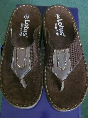 Lotus Brown Leather/Textile Toe Post Flip Flop Summer Holiday Quality • 12.50£