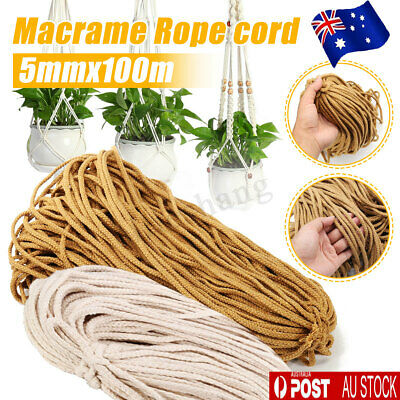 AU14.24 • Buy 5mm Macrame Rope Natural Beige Cotton Twisted Cord Artisans Hand Craft 100M AU