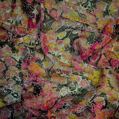 $129 • Buy ETRO Authentic Pure Silk Chiffon Fabric. Floral. Made In Italy. 144 X 180 Cm.