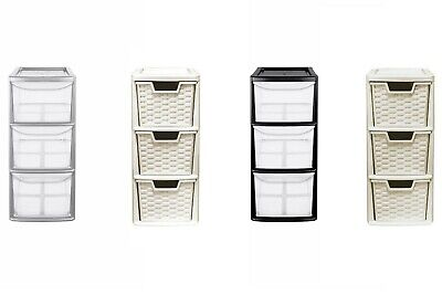 3 Drawer Mini Storage Drawer Tower Unit Rattan Office Desktop Desk Tabletop • 34.95£