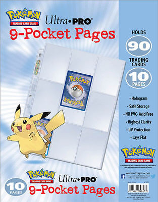 10 X 9 Pocket Pages With Embossed Pikachu Pokemon Card Storage Sleeves Folders • 7.01£