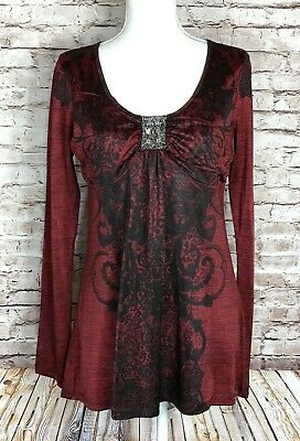 $16.99 • Buy One World Live And Let Live Women's M Long Sleeve Black Red Embellish Blouse EUC
