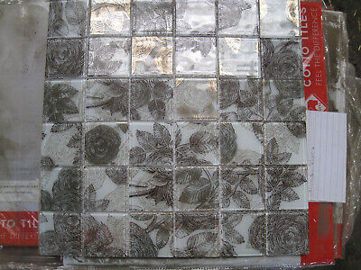 Job Lot Black And Gold  Patterned Glass Mosaic Tile Sheet  • 30£