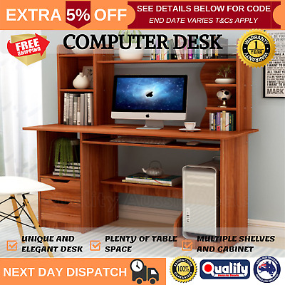AU207.70 • Buy Computer Desk Workstation Home Study Office Drawers Shelves Cabinet Walnut NEW