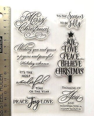 Clear Rubber Stamps Christmas Trees Peace Joy Love Merry Scene Words Background • 4.99£