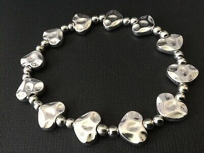 Hammered Silver LOVE HEART Stretch BEADED Bracelet Boho Bijoux • 3.69£