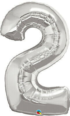 AU11.99 • Buy 2nd BIRTHDAY BALLOON 34  SILVER 2nd BIRTHDAY PARTY SUPPLIES NUMBER 2 BALLOON