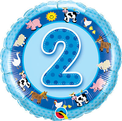 AU8.99 • Buy 2nd BIRTHDAY BALLOON 18  FARM ANIMALS NUMBER 2 BLUE 2nd BIRTHDAY PARTY SUPPLIES