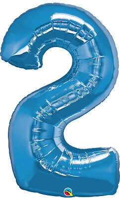 AU10.99 • Buy 2nd BIRTHDAY BALLOON 34  BLUE 2nd BIRTHDAY PARTY SUPPLIES NUMBER 2 BALLOON