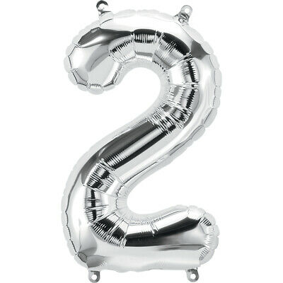 AU5.99 • Buy 2nd BIRTHDAY BALLOON 16  METALLIC SILVER NUMBER 2 BALLOON NO HELIUM REQUIRED