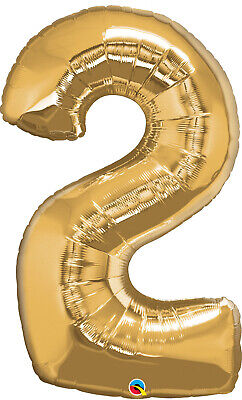 AU10.99 • Buy 2nd BIRTHDAY BALLOON 34  GOLD 2nd BIRTHDAY PARTY SUPPLIES NUMBER 2 BALLOON