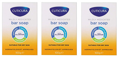 £7.15 • Buy THREE Cuticura Mildly Medicated Gentle Cleansing Bar Soap 100g For Dry Skin