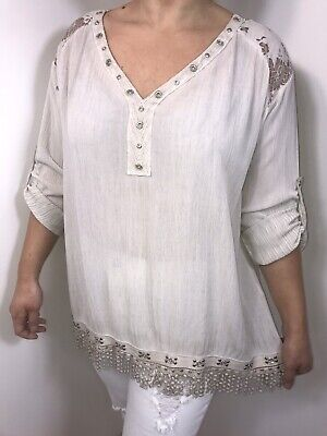 £24.99 • Buy Lace Tunic Top Taupe Sparkly Crystals Eyelets Shiny Silver Studs 14 16 18 20 NEW