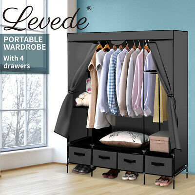 AU65.99 • Buy Levede Portable Wardrobe Organiser Clothes Closet Storage Cabinet Shelf 4 Drawer