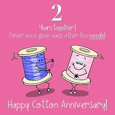 2nd Anniversary Greetings Card - Happy Cotton Anniversary, Wedding Anniversary • 2.99£
