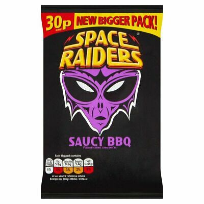 Space Raiders Saucy BBQ Snacks 25g 36 Pack • 11.98£