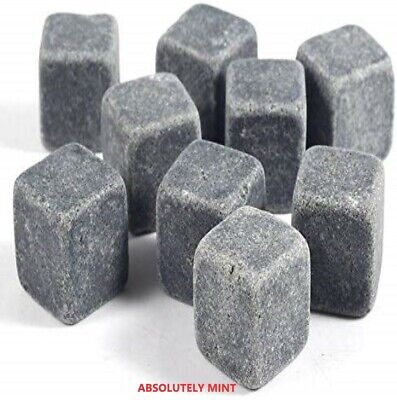 £4.10 • Buy 9 Pcs Whisky Rocks Ice Stones Drinks Cooler Cubes Whiskey Granite Scotch & Pouch